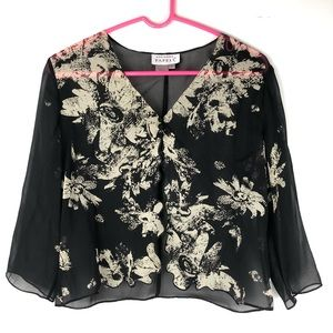 VTG Adrianna Papel Silk Sheer Blouse Size 6